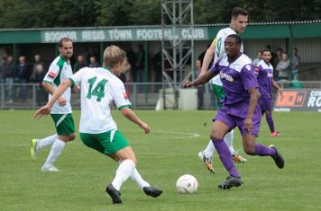 Bognor's Snorre Nilsen (L) and Enfield's Ricky Gabriel