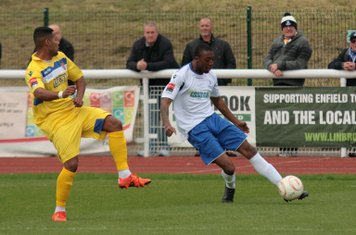 Enfield's Ricky Gabriel crosses from the left wing