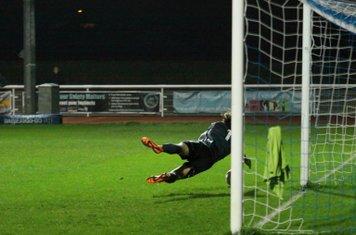 Hendon's Joe Wright saves from Claudiu Vilcu's deflected shot