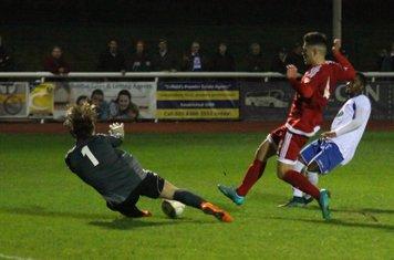 Hendon's Joe Wright saves from Bobby Devyne