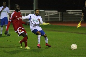 Hendon's Dave Diedhiou (L) and Enfield's Tyler Campbell