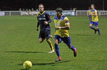 Enfield's Tyler Campbell (L) and Bognor's Dan Beck