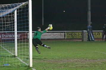 Bognor keeper Grant Smith turns a free kick round the post