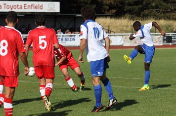Enfield's Percy Kiangebeni shoots from the edge of the area
