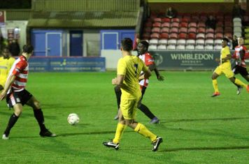 Samir Bihmoutine picks out Dernell Wynter (yellow, R) for the second goal