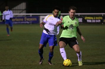 Enfield's Dernell Wynter (L) and Hendon's Luke Tingey