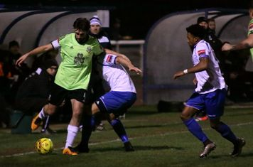 Hendon's Casey Maclaren under pressure from Harry Ottaway and Dernell Wynter (R)