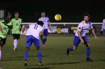 Enfield's Dernell Wynter (11) tries to head the ball on to Harry Ottaway