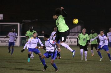 Hendon's Kezie Ibe (15) beats Dernell Wynter in the air