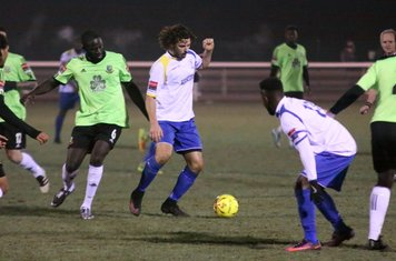 Hendon's Dave Diedhiou (L) and Enfield's Harry Ottaway