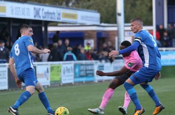Billericay's Danny Waldren (L) and Paul Konchesky and Enfield's Ryan Blake