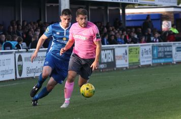 Enfield's John Kyriacou (R) and Billericay's Danny Waldren