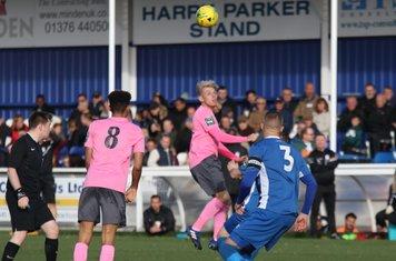 Enfield's Ryan Blackman (pink, R)