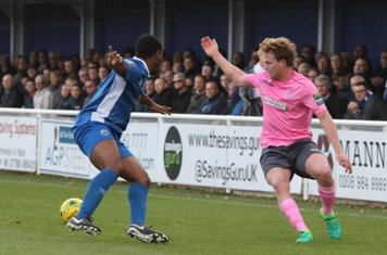 Billericay's Leo Chambers (L) and Enfield's Aaron Greene