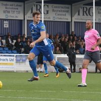 Billericay's Rob Swaine (L) and Enfield's Simon Thomas