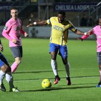 Staines' Tommy  Brewer (L) and Bayley Brown and Enfield's Mickey Parcell and Ryan Blake (R)
