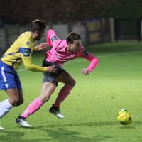 Staines' Josh Webb (L) and Enfield's Mickey Parcell