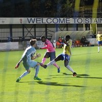 Staines' keeper Liam Driscoll saves from Ryan Blake while I was still walking round behind the goal