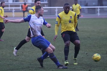 Enfield's Brad Wadkins (L) and Kingstonian's Rob Bartley