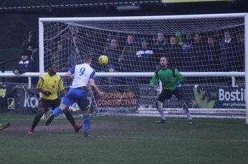 Enfield's Brad Wadkins (9) sees his header saved by Rob Tolfrey