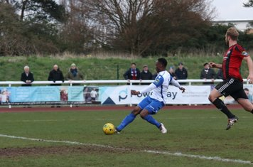 After rounding the keeper, Ryan Blake hits the empty net to put Enfield 1-0 up