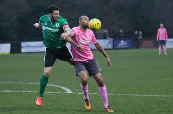 Burgess Hill's Gary Elphick (L) and Enfield's Simon Thomas