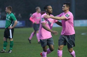 Enfield's Dernell Wynter celebrates his goal with Samir Bihmoutine (R)