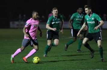 Dernell Wynter runs at the Burgess hill defence