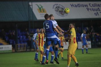 Tonbridge's Sonny Miles (5) and Arthur Lee both challenge for the same ball which falls for Ryan Blackman (out of picture) to open the scoring