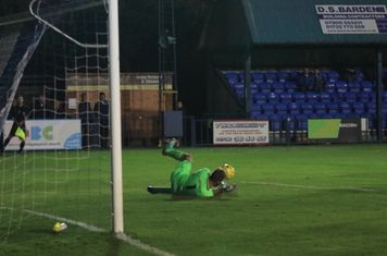 Tonbridge keeper Jon Henly saves a long shot