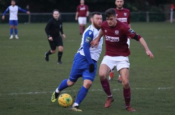 Enfield's Billy Bricknell (L) and Potters Bar's Sean Grace