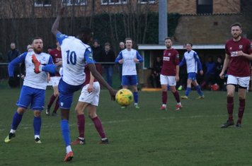 Enfield's Muhammadu Faal (10) just fails to make contact with a header