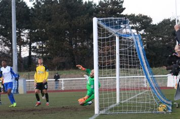 Margate keeepr Louis Wells is beaten for the opening goal