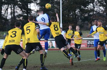 Billy Bricknell (9) heads the opening goal