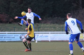 Enfield's Matt Johnson and Billy Bricknell (9) and Margate's Connor Dymond