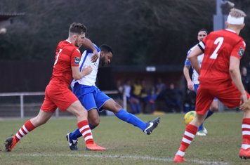 Hornchurch's Kenzer Lee (L) and Alex Bentley and Enfield's Kezie Ibe