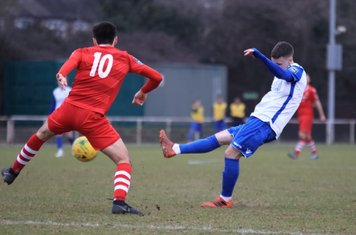 Enfield's Sam Chaney (R) and Hornchurch's Joe Christou