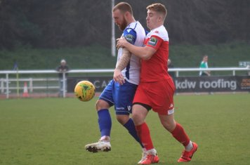 Enfield's Billy Bricknell (L) and Leatherhead's Charlie Hester-Cook