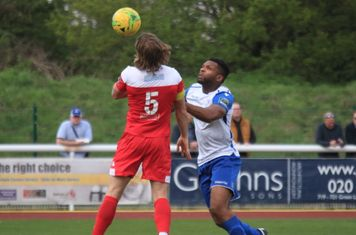 Leatherhead's Will Salmon (L) anmd Enfield's Kezie Ibe