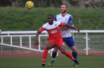 Leatherhead's Ibrahim Olutade (L) and Enfield's Sam Hatton