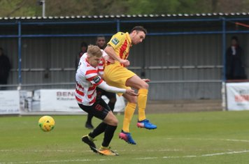 Kingstonian's James Richmond (L) and Enfield's Matt Johnson