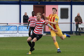 Kingstonian's James Richmond (L) and Enfield's Josh Davison