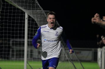 Sam Chaney celebrates his goal