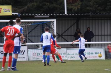 Enfield's Jay Porter (3) clears the rebound after Joe Wright's penalty save