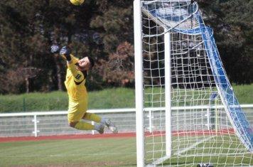 Carshalton keeper Billy Bishop turns away a fierce free kick