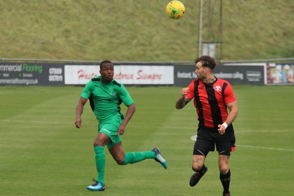 Enfield's Ken Charles (L) and Lewes' Stacey Freeman