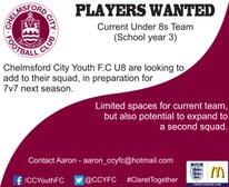 Looking for U8 players for existing and new squads