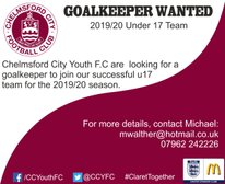 U17 (next season) Goalkeeper Required