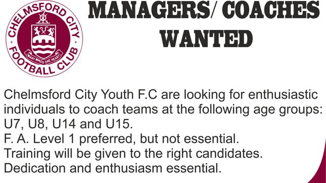 U8 Manager Wanted!