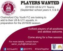 U9 & U11 Players Wanted!